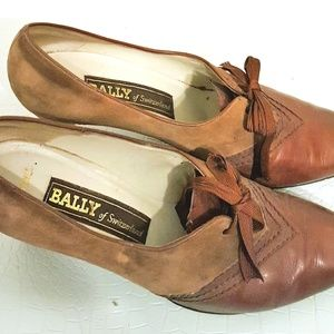 88b118a121d17 Bally Suede Leather Vintage Oxford Heels Sz 9.5